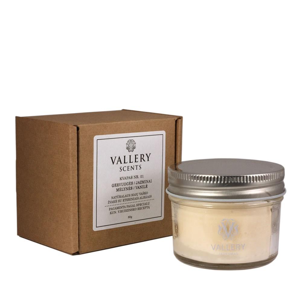 Jaukumas maža kvapi žvakė  Vallery Scents su dėžute